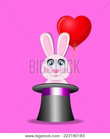 Cute cartoon pink rabbit with red heart shaped balloon sitting in the black magic cylinder hat isolated on rose background. Vector illustration, icon, clip art. Character for greeting card design.