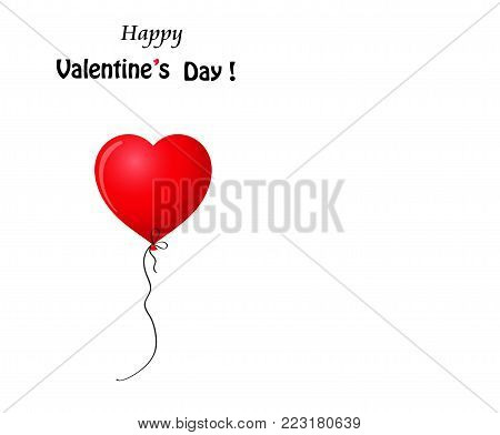 Happy Valentine's day greeting card with red realistic heart shaped helium balloon isolated on white background with copy space. Vector illustration.