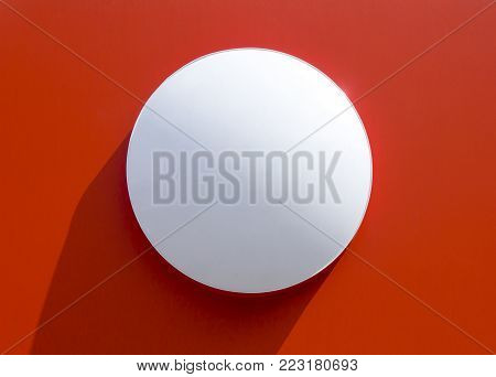 Circle Empty Signboard Isolated On Red Background.