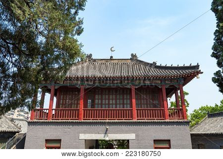 Qingzhen Si mosque in Jinan, China. Praying location for the local muslim community, it features unique chinese decorations in it's interiors