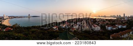 Panorama from the hill of Xiaoyushan park at sunset, Qingdao, Shandong, China