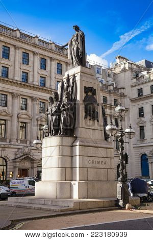 LONDON, UK - NOVEMBER 5, 2012: Crimean War Memorial in St James's, that commemorates the Allied victory in the Crimean War of 1853-56
