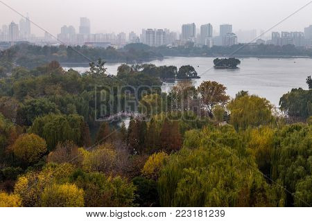 Daming Lake seen from the top of Chaoran Tower in Autumn, Jinan, China