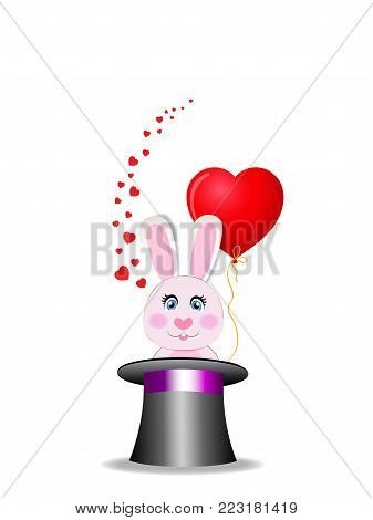 Magic hat with cute bunny with red heart shaped balloon and many hearts around. Rabbit appears from cylinder hat isolated on white background. Vector Illustration, icon, clip art for greeting card