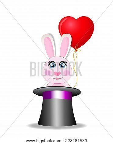 Cute cartoon pink rabbit with red heart shaped balloon sitting in the black magic cylinder hat isolated on white background. Vector illustration, icon, clip art. Element for greeting card design.