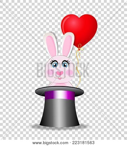 Cute cartoon pink rabbit with red heart shaped balloon sitting in the black magic cylinder hat isolated on transparent background. Vector illustration, icon, clip art. Element for greeting card design