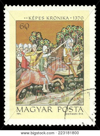 Hungary - circa 1971: Stamp printed by Hungary, Color edition on Illustrations from the Kepes Kronika, shows Aba Samuel pursuing King Peter Orseolo, circa 1971