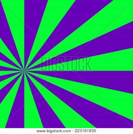 Vibrant abstract green and violet background with sunburst pattern. Radial vibrant colorful rays for banner, card, poster design. Vector illustration, template.