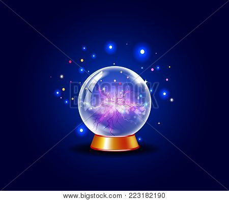 Blue shining vector plasma ball. Magical energy ball with energy veins from center to outside on blue sparkling spellbinding  background with colored lights around.