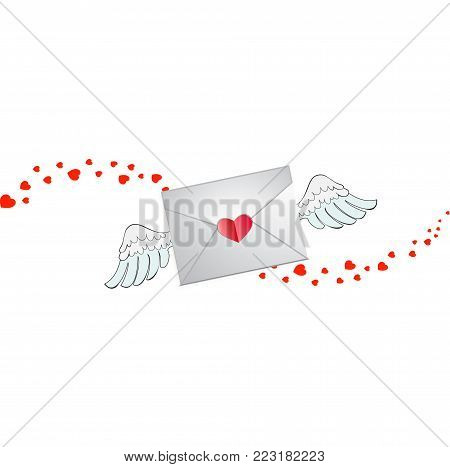 Closed envelope with heart stamp, white angel wings and hearts wave track isolated on white background. Flying love letter sign, Valentine's Day symbo, iconl for social media, dating apps and chats.