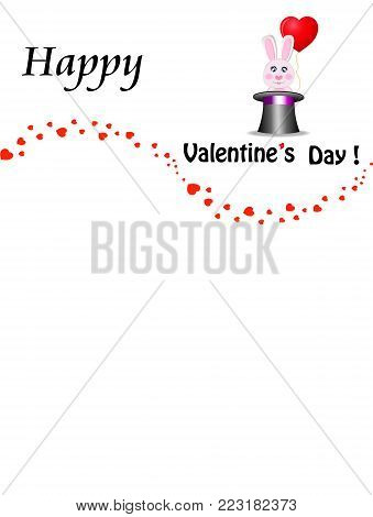Happy valentines day greeting card design with cute cartoon pink rabbit with red heart shaped balloon sitting in the black magic cylinder top hat and confetti hearts wave. Vector illustration, frame.