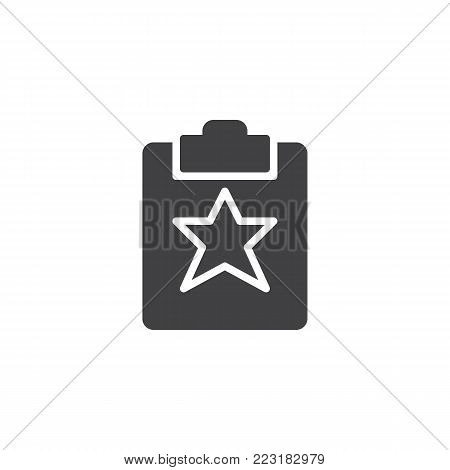 Favorite document icon vector, filled flat sign, solid pictogram isolated on white. Clipboard with star symbol, logo illustration.