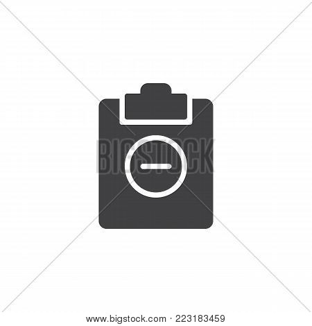 Clipboard minus icon vector, filled flat sign, solid pictogram isolated on white. Minus file symbol, logo illustration.