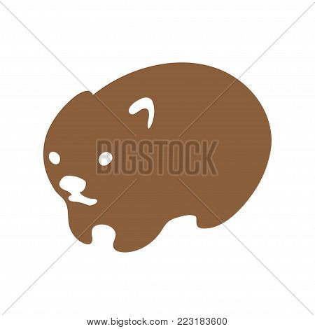 Wombat, australian animal vector. Isolated silhouette for logo or mascot.