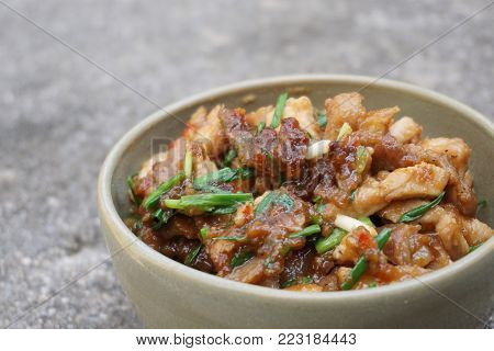 Stir Fried Pork with Shrimp Paste in Thai food style