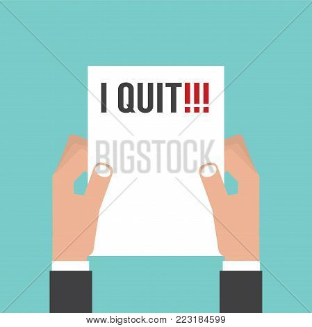 Hand Holding Envelope With Text I Quit Job. Resignation Letter Concept Vector Illustration. EPS 10
