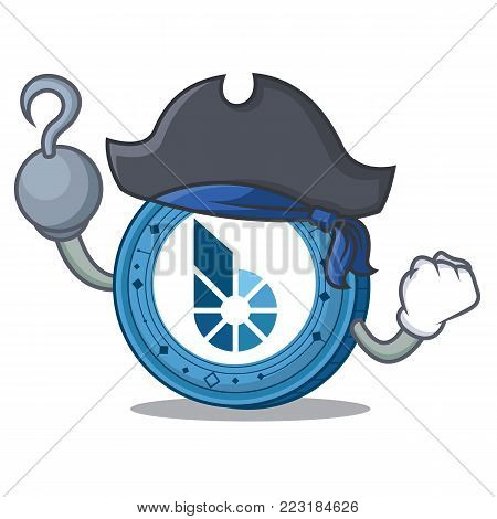 Pirate BitShares coin character cartoon vector illustration