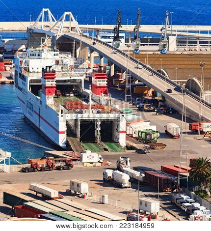 BARCELONA, SPAIN - September 15, 2011: Big ferryboat Super Fast Galicia at Port Vell. Barcelona, Catalonia
