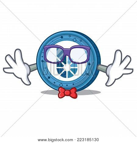 Geek BitShares coin character cartoon vector illustration