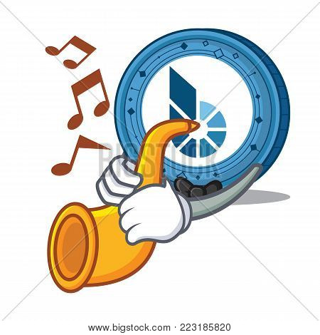 With trumpet BitShares coin mascot cartoon vector illustration