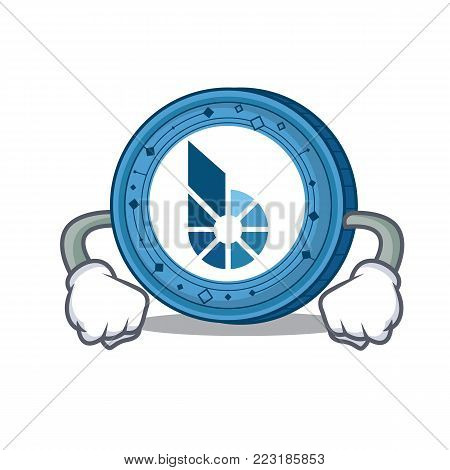 Angry BitShares coin mascot cartoon vector illustration