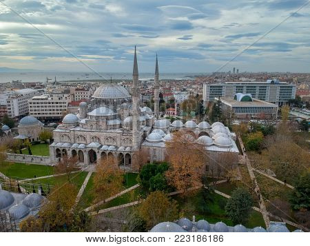 Sehzade Mosque bir Sinan in Istanbul and Modern Istanbul Municipality Building Aerial View