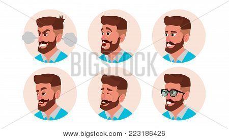 Character Business People Avatar Vector. Bearded Man Face, Emotions Set. Creative Default Avatar Placeholder. Cartoon, Business Comic Illustration