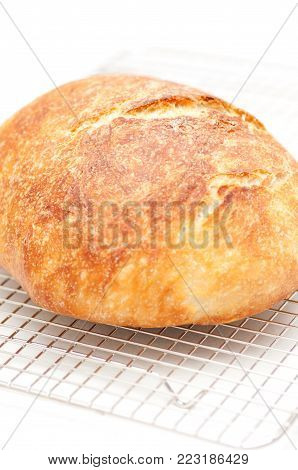 hand made artisinal 18 hour overnight fresh bread, artisan style stock photo