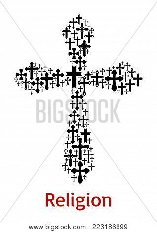 Christian cross or crucifix symbol combined of crucifixion icon for religious sign or Easter Day design template. Vector Orthodox, Catholic or Evangelic church religion isolated cross crucifix