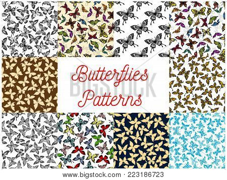 Butterfly seamless pattern background of flying tropical butterfly, monarch and moth. Insect background set for nature, ecology and wildlife themes design