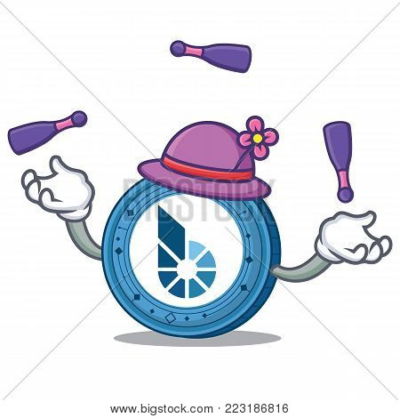 Juggling BitShares coin mascot cartoon vector illustration