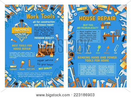 House construction or home repair poster of carpentry and interior design work tools. Vector woodwork saw or grinder, handyman hammer or plaster trowel and paint brush, screwdriver and ruler