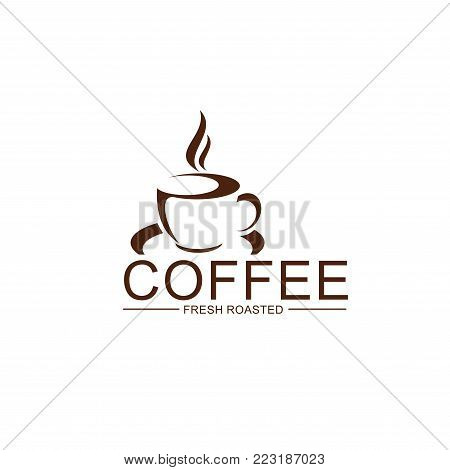 Coffee cup and steam icon of espresso or americano from fresh roasted beans for cafeteria and cafe menu design template. Vector isolated hot steamy mug on plate for coffee shop or coffeehouse