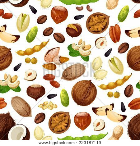 Nuts seamless pattern. Vector coconut, almond or peanut and pistachio kernels, pumpkin and sunflower seeds, walnut and hazelnut or filbert and pea or bean pod snack for nut shop or market