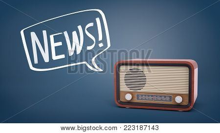 3d rendering of a brown retro radio set on a blue background with a chalk drawn speech bubble holding a word News inside it. Broadcasting. News and current affairs. Radio industry.