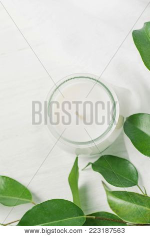 White Candle in Glass Jar Ficus Tree Branch with Young Fresh Green Leaves on White Wood Background. Styled Stock Photo for Social Media Blog. Wellness Spa Purity Tranquility Concept. Copy Space