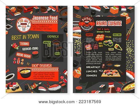 Japanese cuisine restaurant menu or Asian food poster design template. Vector price for sushi, fish rolls, rice and salmon sashimi, eel or tuna maki and ramen noodle soup or Japanese tea and chopstick