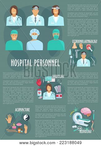 Medical poster of hospital doctors and healthcare departments. Vector medicine of neurology hammer, cardiology heat pills, mri scanner or otolaryngology otoscope and acupuncture needles or stethoscope