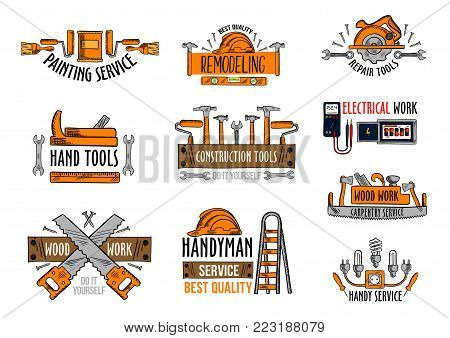 Work tools icons for house construction and home repair service. Vector isolated set of electric lamp voltmeter and fuse, woodwork saw and drill or hammer, handyman ladder or carpenter grinder plane
