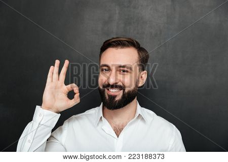 Close up photo of bearded guy smiling and gesturing with OK sign expressing good choice being isolated over graphite background