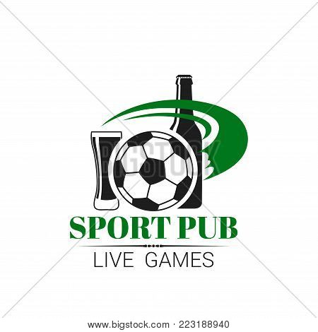 Soccer sports pub icon for live championship fan club or menu. Vector isolated symbol of football ball, beer bottle and draught beer glass pint for soccer league team fans or cup match tournament
