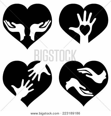 isolated hands with heart icons set from white background