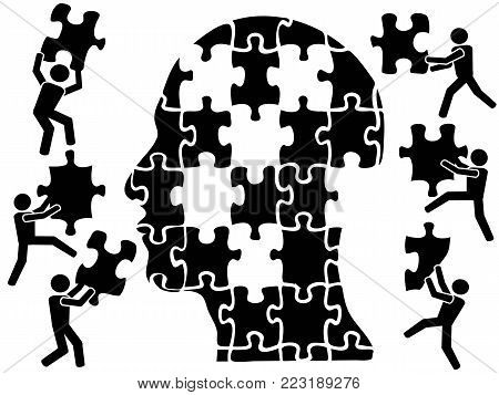 isolaetd teamworks in head puzzle from white background