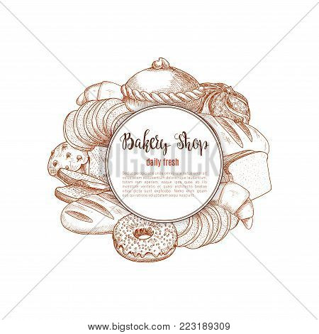 Bread and patisserie desserts vector sketch poster of wheat brick or rye bread loaf, bakery shop baguette bannocks and bagel, chocolate cake or cupcake pie and croissant, muffin and donut pastry