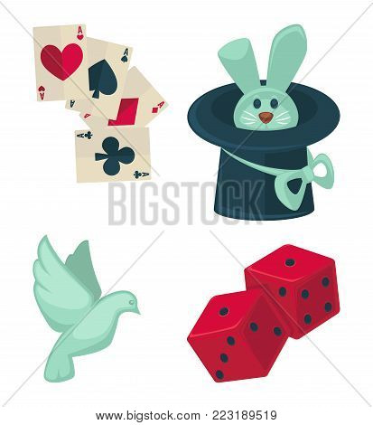 Magic show magician trick equipment icons of rabbit in magic hat, cards and dice or dove. Vector isolated symbols of magic show illusionist performance accessories