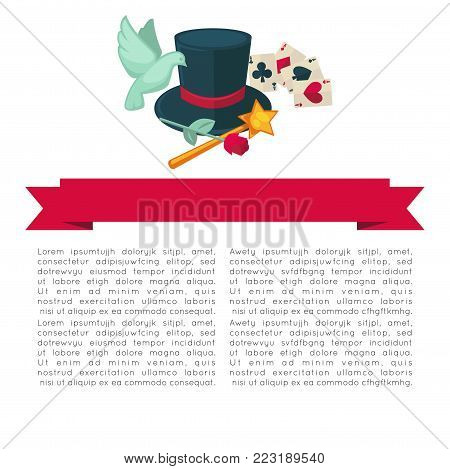Magic show poster design of magician trick equipment of magic hat and wand, cards and dove or flower. Vector flat magic performance accessories of illusionist