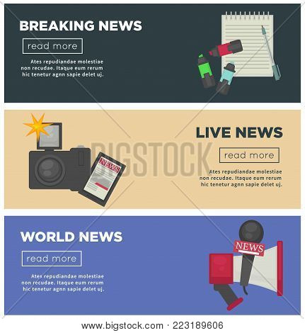 Breaking live news banners for journalist profession working equipment flat vector poster. Vector TV anchorman broadcast, reporter video news television camera, microphone and pen with notepad