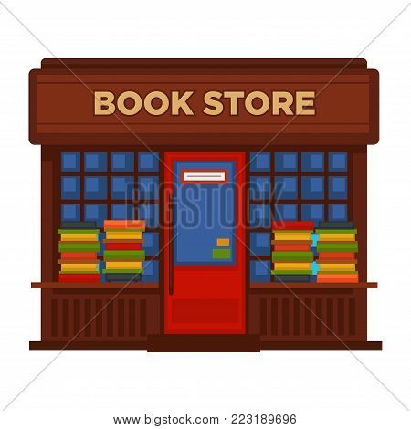 Bookstore or bookshop booth vector isolated building facade icon. Book sore or shop flat design street view with shop-window, door and signage