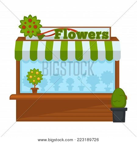 Flowers vendor booth or flower market wooden stand. Vector isolated flat icon of flowers and plants vending counter with awning roof