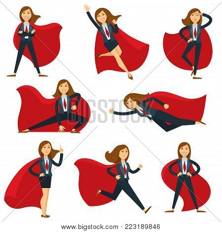 Superwoman or super woman office manager vector flat character icons. Isolated set of business woman in super hero costume cloak and office suit, flying, running or powerful strong with hand up
